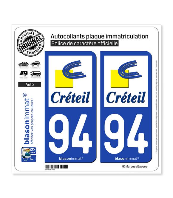 94 Créteil - Ville | Autocollant plaque immatriculation
