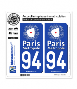 94 Créteil - Agglo | Autocollant plaque immatriculation