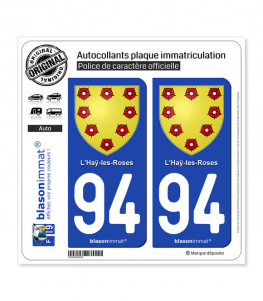 94 Haÿ-les-Roses - Armoiries | Autocollant plaque immatriculation