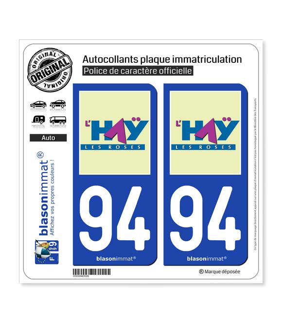 94 Haÿ-les-Roses - Ville | Autocollant plaque immatriculation