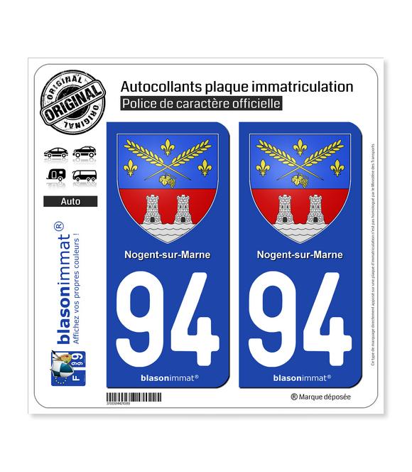94 Nogent-sur-Marne - Armoiries | Autocollant plaque immatriculation