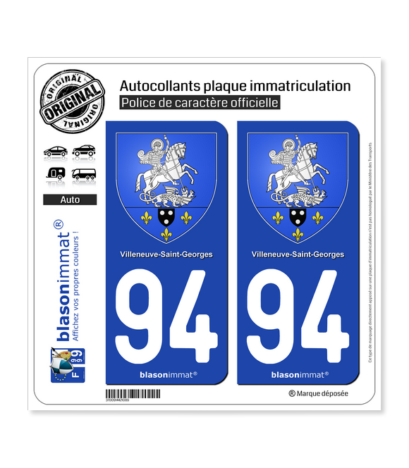 94 Villeneuve-Saint-Georges - Armoiries | Autocollant plaque immatriculation