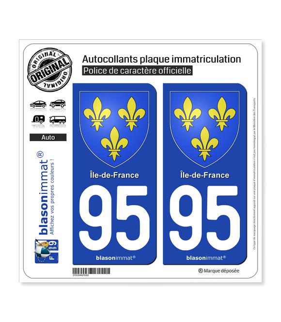 95 Ile-de-France - Armoiries | Autocollant plaque immatriculation