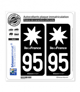 95 Ile-de-France- LogoType Black | Autocollant plaque immatriculation