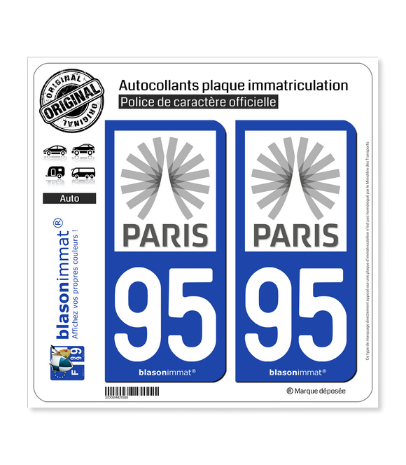 95 Ile-de-France - Tourisme | Autocollant plaque immatriculation