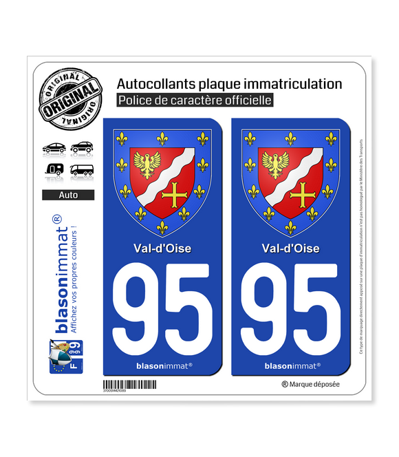 95 Val-d'Oise - Armoiries | Autocollant plaque immatriculation