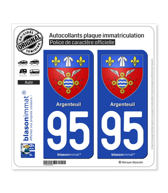 95 Argenteuil - Armoiries | Autocollant plaque immatriculation