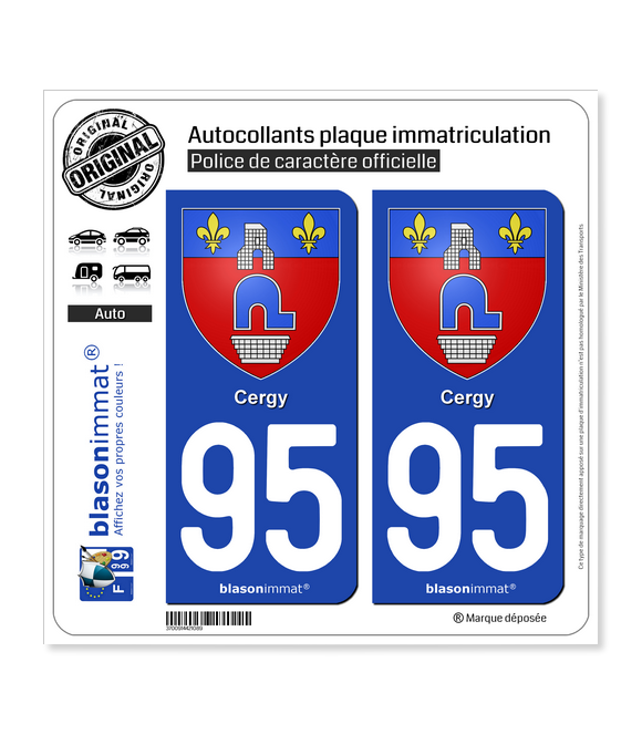 95 Cergy - Armoiries | Autocollant plaque immatriculation