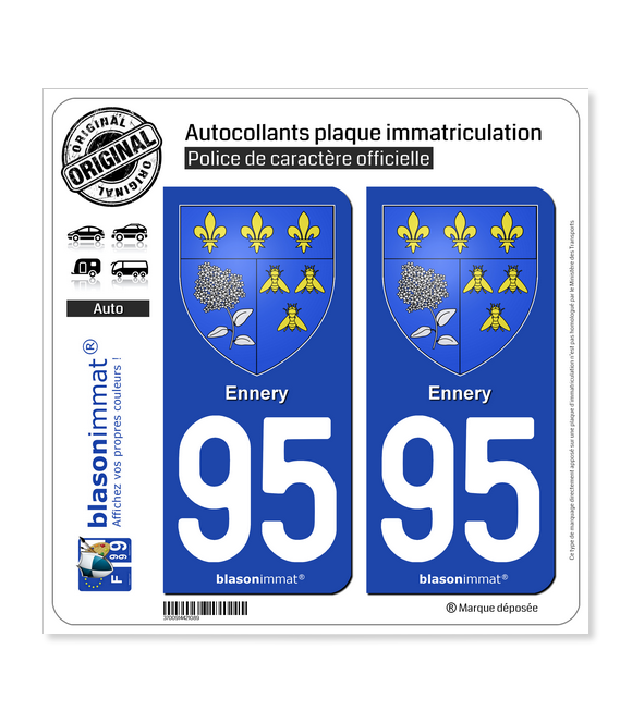 95 Ennery - Armoiries | Autocollant plaque immatriculation