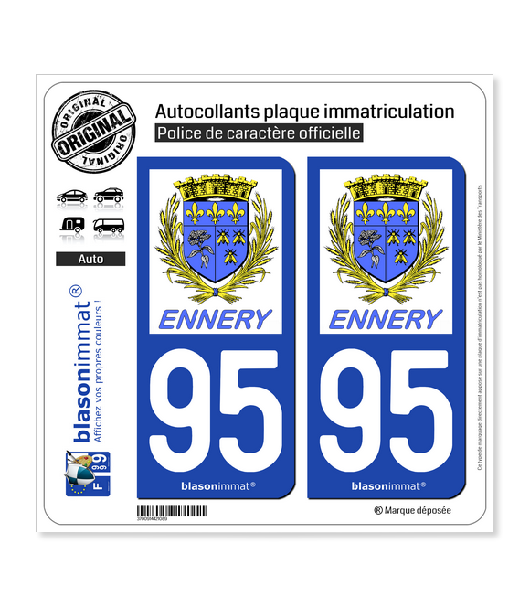 95 Ennery - Commune | Autocollant plaque immatriculation
