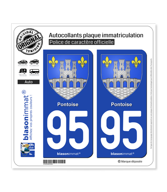 95 Pontoise - Armoiries | Autocollant plaque immatriculation