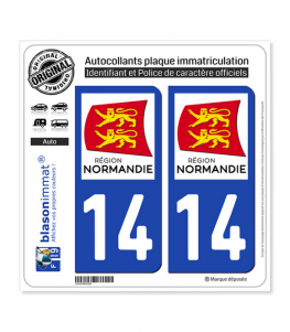 14 Normandie - LogoType | Autocollant plaque immatriculation