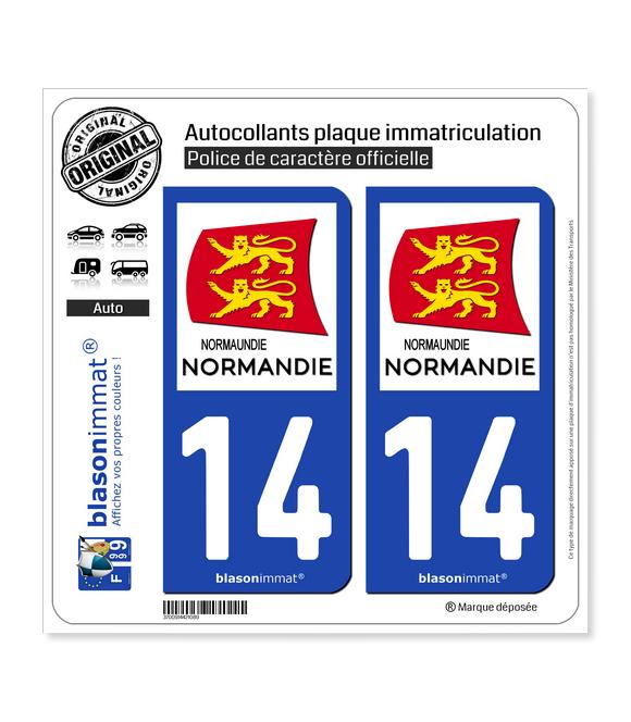 14 Normandie - Région   Autocollant plaque immatriculation