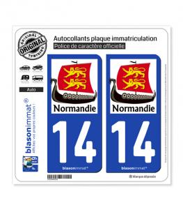14 Normandie - Drakkar | Autocollant plaque immatriculation