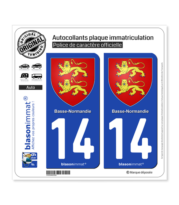 14 Basse-Normandie - Armoiries | Autocollant plaque immatriculation