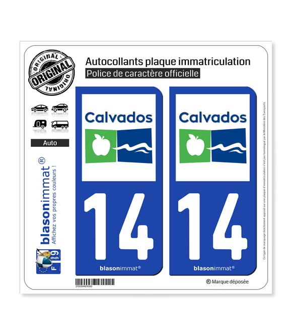 14 Calvados - Département | Autocollant plaque immatriculation