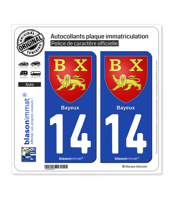 14 Bayeux - Armoiries | Autocollant plaque immatriculation