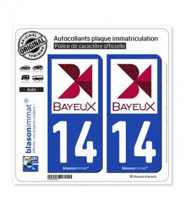 14 Bayeux - Ville | Autocollant plaque immatriculation