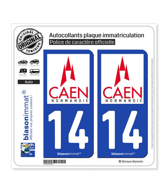 14 Caen - Ville | Autocollant plaque immatriculation