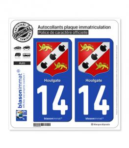 14 Houlgate - Armoiries   Autocollant plaque immatriculation