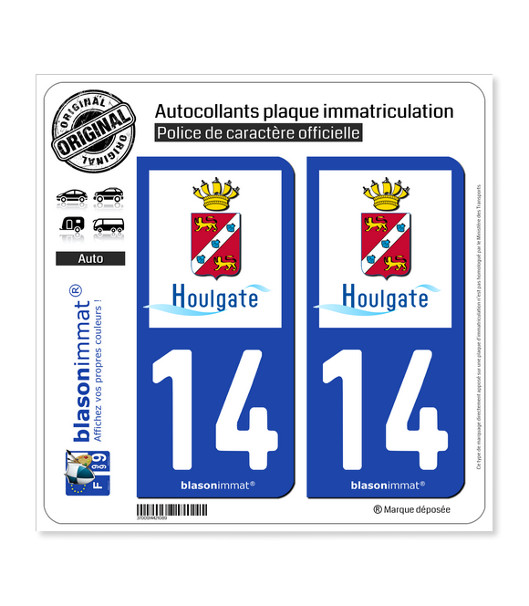 14 Houlgate - Ville | Autocollant plaque immatriculation