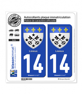 14 Lisieux - Armoiries | Autocollant plaque immatriculation