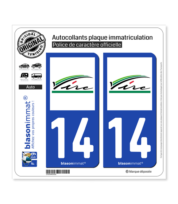 14 Vire - Ville | Autocollant plaque immatriculation