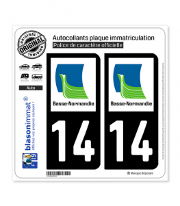 14 Basse-Normandie - LogoType | Autocollant plaque immatriculation