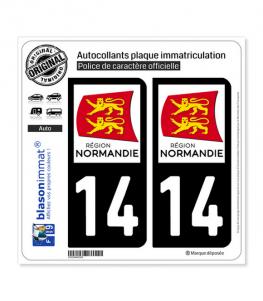 14 Normandie - LogoType | Autocollant plaque immatriculation