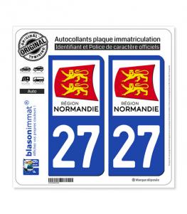27 Normandie - LogoType | Autocollant plaque immatriculation
