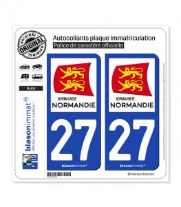 27 Normandie - Région | Autocollant plaque immatriculation