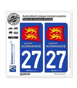 27 Normandie - Région II | Autocollant plaque immatriculation