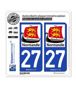 27 Normandie - Drakkar | Autocollant plaque immatriculation