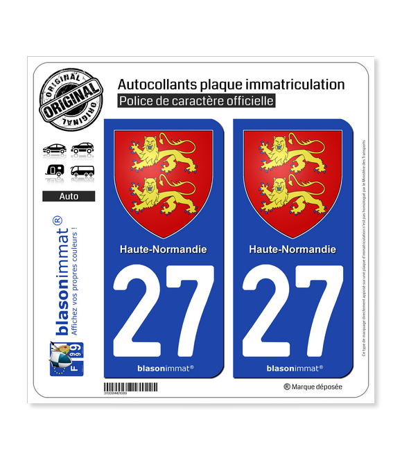 27 Haute-Normandie - Armoiries | Autocollant plaque immatriculation