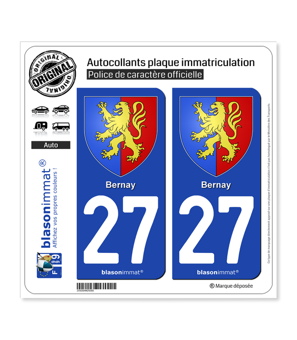 27 Bernay - Armoiries | Autocollant plaque immatriculation