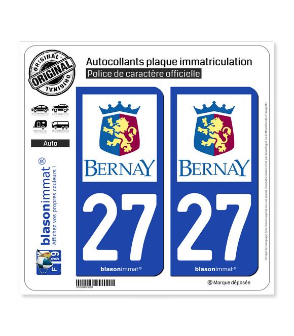 27 Bernay - Ville | Autocollant plaque immatriculation