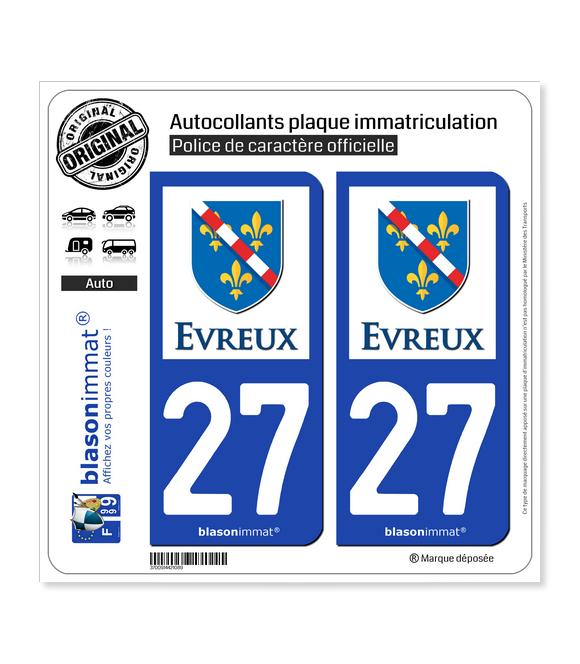 27 Évreux - Ville | Autocollant plaque immatriculation