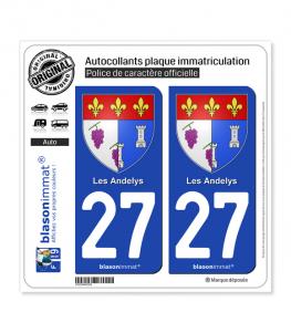 27 Les Andelys - Armoiries | Autocollant plaque immatriculation