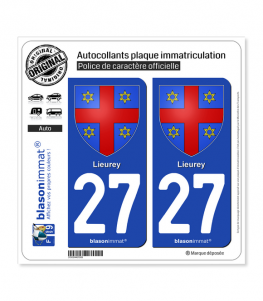 27 Lieurey - Armoiries | Autocollant plaque immatriculation