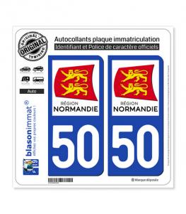 50 Normandie - LogoType | Autocollant plaque immatriculation