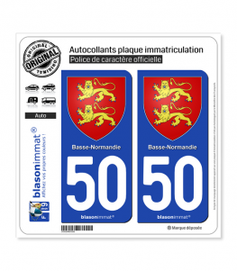 50 Basse-Normandie - Armoiries | Autocollant plaque immatriculation