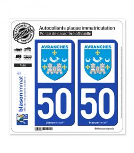 50 Avranches - Ville | Autocollant plaque immatriculation