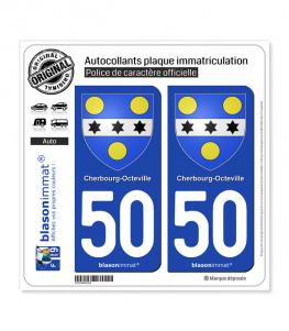 50 Cherbourg-Octeville - Armoiries | Autocollant plaque immatriculation