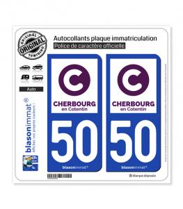 50 Cherbourg-en-Cotentin - Ville | Autocollant plaque immatriculation