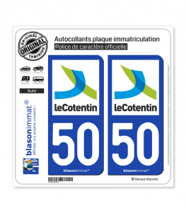 50 Cherbourg-en-Cotentin - Agglo | Autocollant plaque immatriculation
