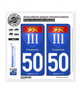 50 Coutances - Armoiries | Autocollant plaque immatriculation