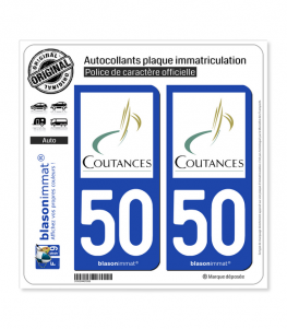 50 Coutances - Ville | Autocollant plaque immatriculation