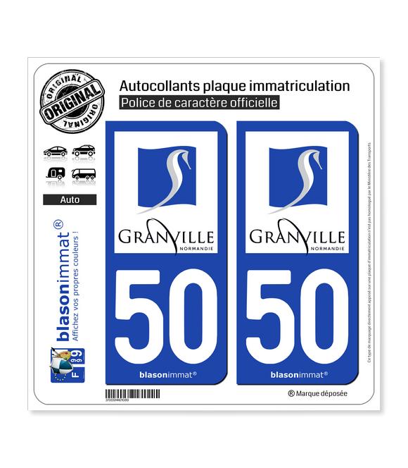 50 Granville - Ville | Autocollant plaque immatriculation