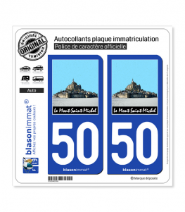 50 Le Mont-Saint-Michel | Autocollant plaque immatriculation