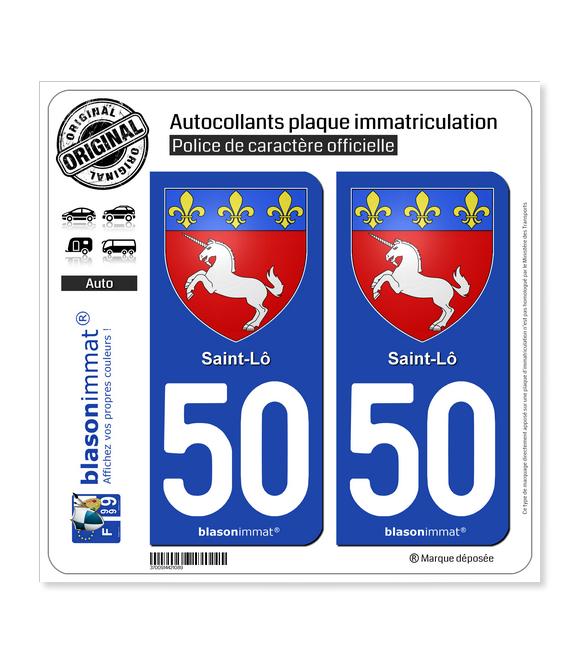 50 Saint-Lô - Armoiries | Autocollant plaque immatriculation